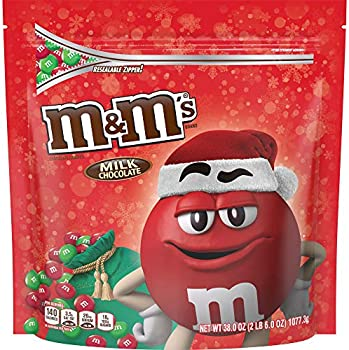 M&M's Milk Chocolate Red & Green Christmas Candy, 38 Oz