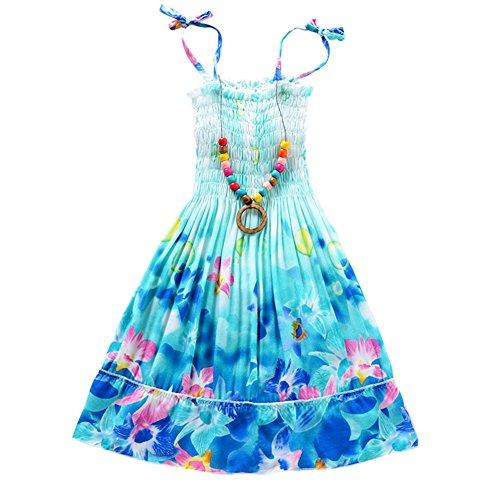 ESHOO - Vestido con collar para niñas y niños, diseño de vacaciones de verano, Niñas, azul, 9-10 años