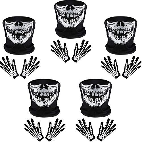 Tatuo Guantes de Esqueleto Blancos y Máscara de Cara de Calavera Mitad de Huesos de Fantasmas para Fiesta de Disfraz de Danza de Halloween de Adultos