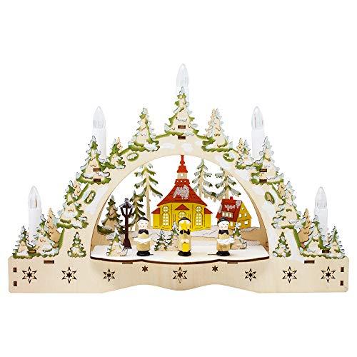 ToCi beleuchteter Schwibbogen Kerzenbogen Lichterbogen mit 5 LED-Kerzen und weihnachtlichem Chor-Motiv zur Weihnachts-Dekoration, Fensterdekoration und Tischdekoration