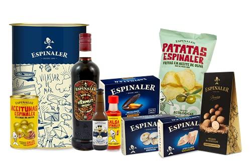 Espinaler cesta gourmet aperitivo | Pack regalo con vermut rojo, cerveza, salsa, patatas fritas ecológicas, aceitunas rellenas de anchoa, berberechos, atún claro, mejillones y catanias de choc