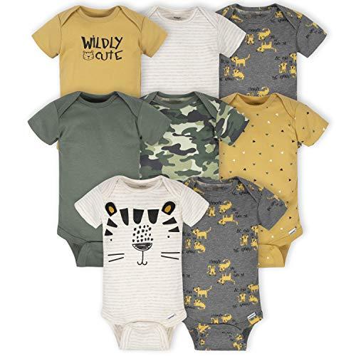 Gerber Baby 8-Pack Short Sleeve Onesies Bodysuits, Tiger Green, 3-6 Months