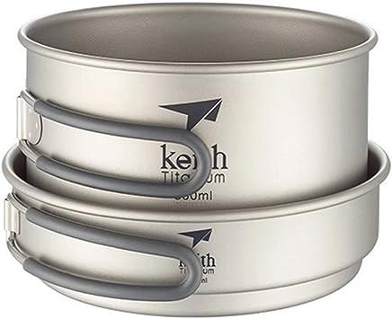 Keith - Juego de sartenes y ollas de titanio para camping, senderismo, picnic, mochilero