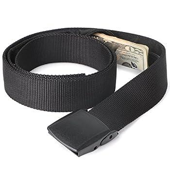 JASGOOD Travel Security Money Belt with Hidden Money Pocket - Cashsafe Anti-Theft Wallet Unisex Nickel free Nylon Belt Suit for pant size 26-40Inch,11-Black
