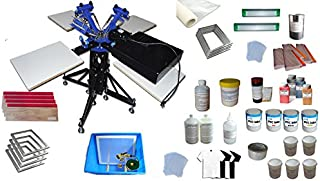 3 Color 4 Station Screen Printing Kit For Starter DIY Rotating Screen Pringting Machine Press Flash Dryer EconomicalE Kit