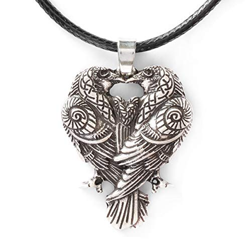 HAQUIL Raven Necklace - Metal Alloy, Huginn and Muninn Raven Couple Pendant - PU Leather Cord, 19.7'