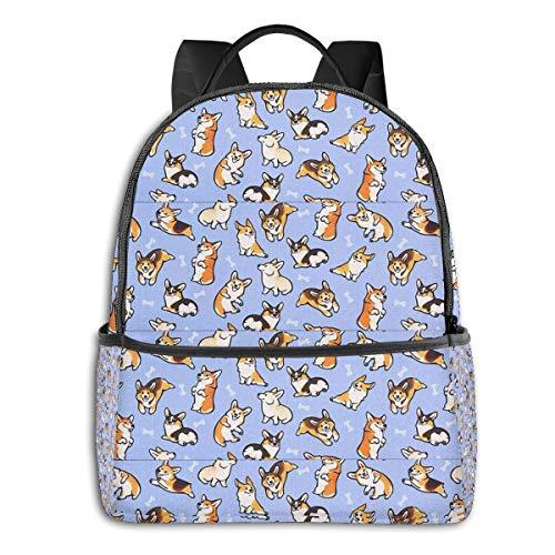 Yonoxita Unisex Fashion Casual School Laptop School Bag Travel Backpack Blue Corgi Backpack