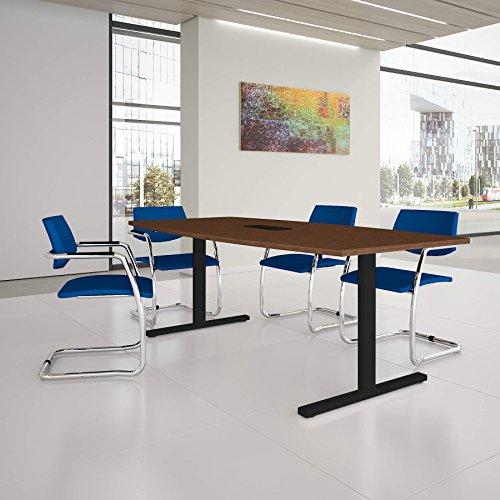 Easy Konferenztisch Bootsform 200x100 cm Nussbaum mit Elektrifizierung Besprechungstisch Tisch, Gestellfarbe:Anthrazit