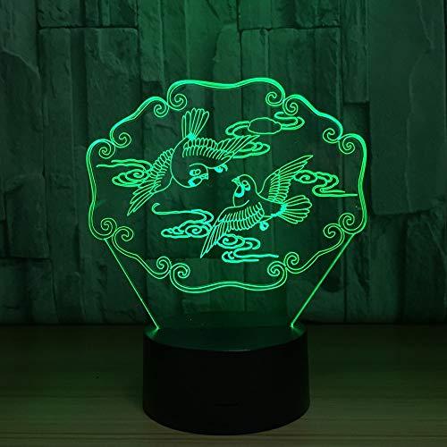3D Night Light Space,Mandarinente 3D Illusion Nachtlicht Tier Usb Tischlampe Bunte Led 3D Lampe Für Hochzeitsfest Dekor Liebhaber Geschenk