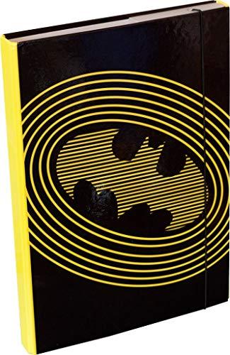 baagl Heftbox für Schulranzen A4 - Sammelmappe für Kinder mit Gummiband und Innenklappen - Heftmappe, Sammelbox mit Gummizug für Jungen (Batman)