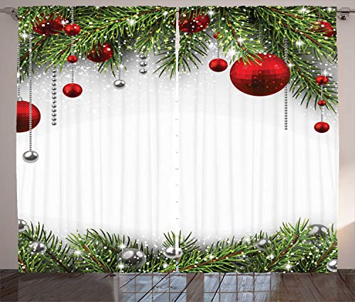 """Ambesonne Christmas Curtains, Holiday Season Backdrop with Pine Leaves Ball Classic Design Print, Living Room Bedroom Window Drapes 2 Panel Set, 108"""" X 84"""", Red Green"""