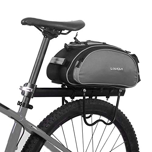 Lixada Bolsa Trasera para Bicicleta Multifuncional Bolsa de Asiento Trasero Bolsa de Hombro para Ciclismo al Aire Libre (Gris(13L))