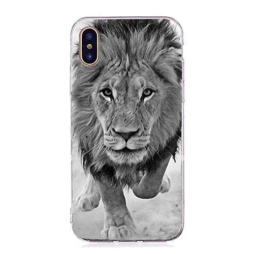 Inonler Custodia Leone Potente, Animali africani feroci, Silicone Morbido TPU disegnoper Il iPhone X, Custodia Nero
