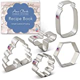 Ann Clark Cookie Cutters 5-Piece Bee Cookie Cutter Set with Recipe Booklet, Bee, Beehive, Small Flower, Honeycomb and Honey Jar