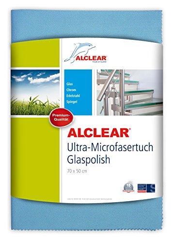 ALCLEAR Ultra-Microfasertuch Glaspolish 70 x 50 cm Scheibentuch und Gläserpoliertuch, blau
