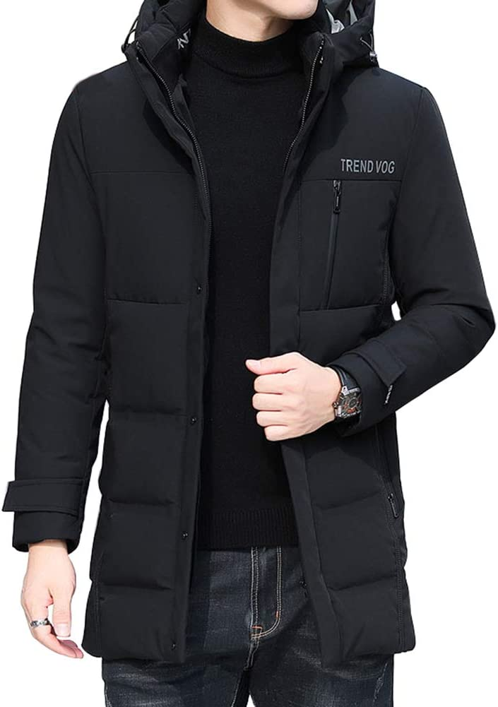 Down jacket Medium Long Fashionable Warm Jacket, Middle-Aged Men's Thicken Hooded, Removable hat, Filling: 90% White Duck Down (Blue, Gray, Black)