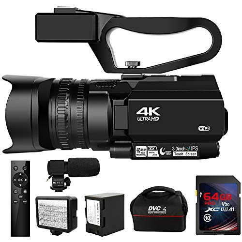 Video Camera 4K Camcorder HD 48MP 30X Digital Zoom Camera for YouTube IR Night Vision 4500mAh Battery with Portable Handheld Stabilizer 2.4G Remote Control Microphone with 64G SD Card