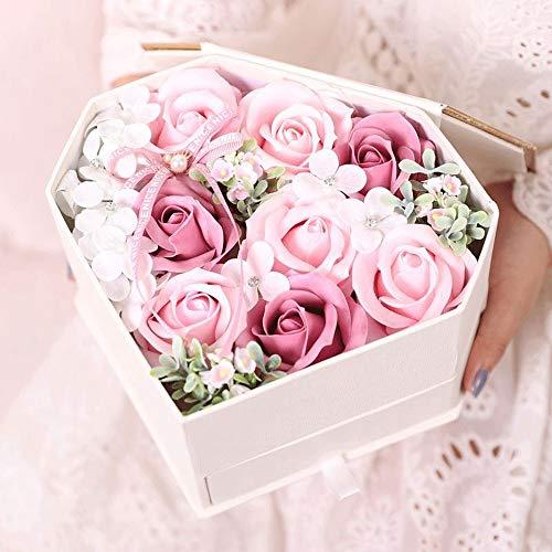 WyaengHai handgemaakte bloemen en rozenvrouwelijk bloem geschenk hart gevormde zeep bloem geschenkdoos bloem cadeau voor haar vriendin valentijn verjaardag verjaardag Thanksgiving vrouw bloem cadeau