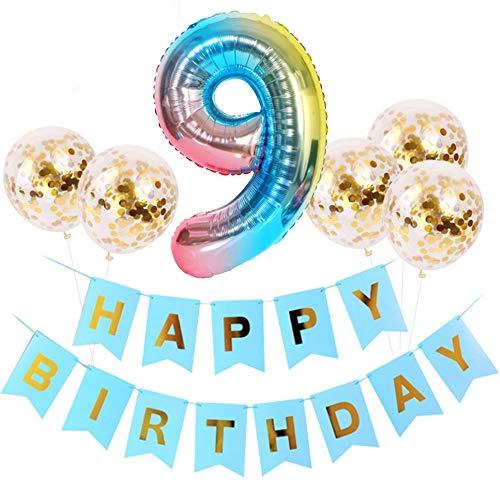 DIWULI, großes Geburtstagsdeko-Set, Happy Birthday Girlande zum Aufhängen + 5 Konfetti Latex-Ballons Gold + Zahl 9 blau Zahlen-Ballon für 9. Geburtstag, Party, Dekoration, Luftballon, Folien-Ballon