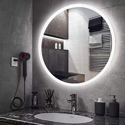 LXDDP Espejo baño, Iluminado LED,Φ60cm/70cm/80cm Ronda Estilo Moderno, Pared retroiluminada Espejo Aumento/Maquillaje Virtual