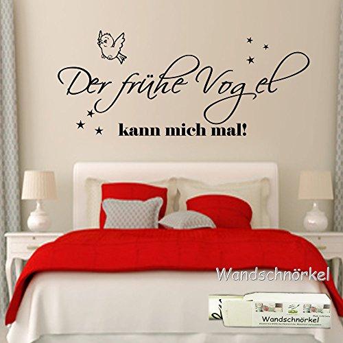 Wandschnörkel ® Wandtattoo Schlafzimmer 2604 Der frühe Vogel kann mich mal! 90cmx45cm Wandsticker Schlafzimmer/Kinderzimmer...in 21 Farben in unserem Angebot