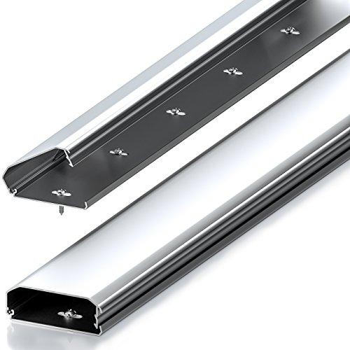 deleyCON Universal Kabelkanal Leitungskanal innovativer Klappmechanismus hochwertiges Aluminium Länge 50cm - Breite 6cm - Höhe 2cm - Silber