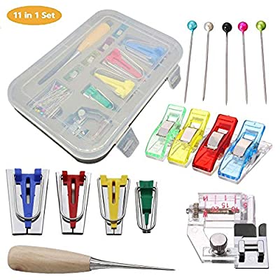 TOPIST Bias Tape Maker Set, Fabric Bias Tape Maker Tool Kit DIY Patchwork Sewing Accessories Tools for Quilt Binding with 6MM/12MM/18MM/25MM Binding Foot Craft Clips Awl Quilter's Pin