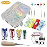 TOPIST Bias Tape Maker Kit, Fabric Bias Tape Maker Set DIY Patchwork Sewing Accessories Tools for Quilt Binding with 6MM/12MM/18MM/25MM Binding Foot Craft Clips Awl Quilter's Pin