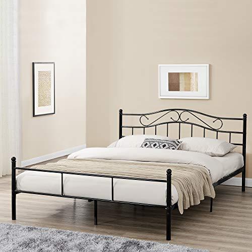 [en.casa] Metallbett 'Florenz' 180x200cm mit Kopfteil Pulverbeschichtet Lattenrost Schlafzimmerbett Doppelbett Bett Schwarz Ehebett