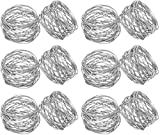 Kaizen Casa Handmade Silver Round Mesh Napkin Rings Holder for Dinning Table Parties Everyday, Set of 12 (Silver, 12)