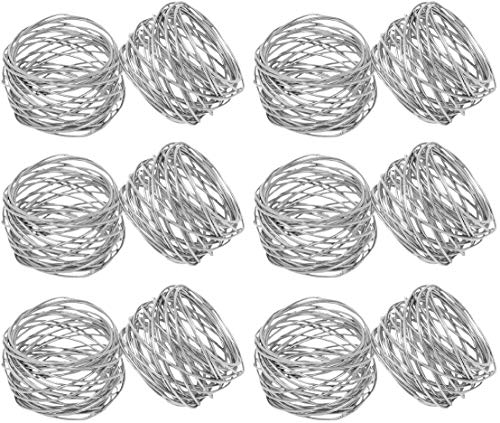 Kaizen Casa Handmade Round Mesh Napkin Rings Holder for Dinning Table Parties Everyday, Set of 12 (Silver)