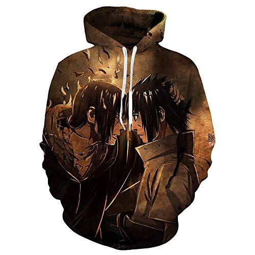 XXzssxs Naruto Chaqueta con Capucha Hombres 3D Sudaderas con Capucha Akatsuki Abrigo Uchiha Itach Cosplay Disfraz Kakashi Anime Sudaderas Harajuku Hoody-Gold_XXL