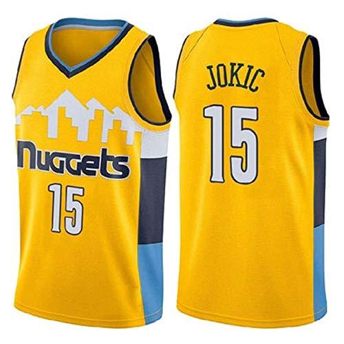 WOLFIRE SC Camiseta de Baloncesto para Hombre, NBA, Denver Nuggets 15# Nikola Jokic. Bordado Swingman Transpirable y Resistente al Desgaste Camiseta para Fan (Amarillo, L)