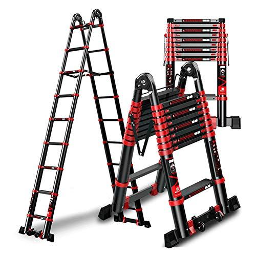 YUNLONG 6 treden, multifunctioneel, telescopische ladder, draagbaar, aluminium, steiger Heavy Duty A-frame, ladder met veiligheidsvergrendeling 2,5 m + 2,5 m