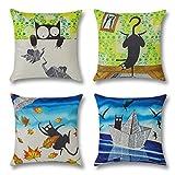 Artscope 4 Pack Funda de Almohada Algodón Lino para Cojín Cuadrado,Funda de Cojín 45 x45 cm Decorativo para Hogar Sofá Cama (Gato Negro de Dibujos Animados)