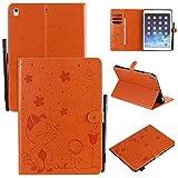 """Miagon Smart Coque pour iPad 5/6/7/8/9 {9.7""""},PU Cuir Chat Abeille Cover Housse Étui de Protection avec Support et Veille/Réveil Magnétique,Orange"""