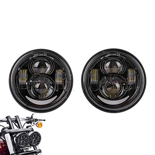 """GXQ-AIJINGYU for Harley Dyna Fat Bob Licht Motorrad Dyna Fat Bob Doppelscheinwerfer, Motor 4,65\"""" Doppel-LED-Scheinwerfer mit Tagfahrlicht Halo-Ring (Color : with DRL Black)"""