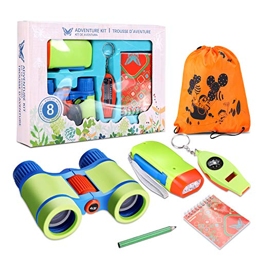Outdoor Adventure Set for Kids, 6 Pcs Nature Exploration Adventure Kit Children 4 X 30mm Binoculars Not Charge LED Flashlight 4 in 1 Compass Magnifying Glass Whistle Book Pen Gift Set for Girl Boy