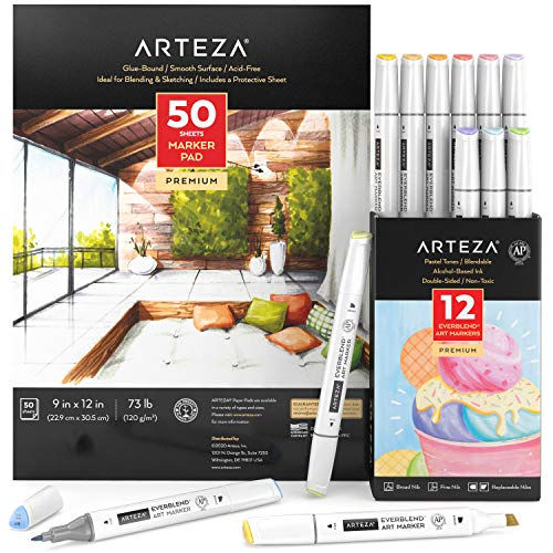 Arteza Everblend Art Markers and Marker Paper Pad