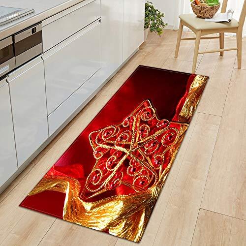 HLXX Alfombra de Cocina Decoración navideña Alfombra de Puerta de Sala de Estar Alfombra de baño Antideslizante Pasillo Dormitorio Alfombra Infantil A6 60x180cm