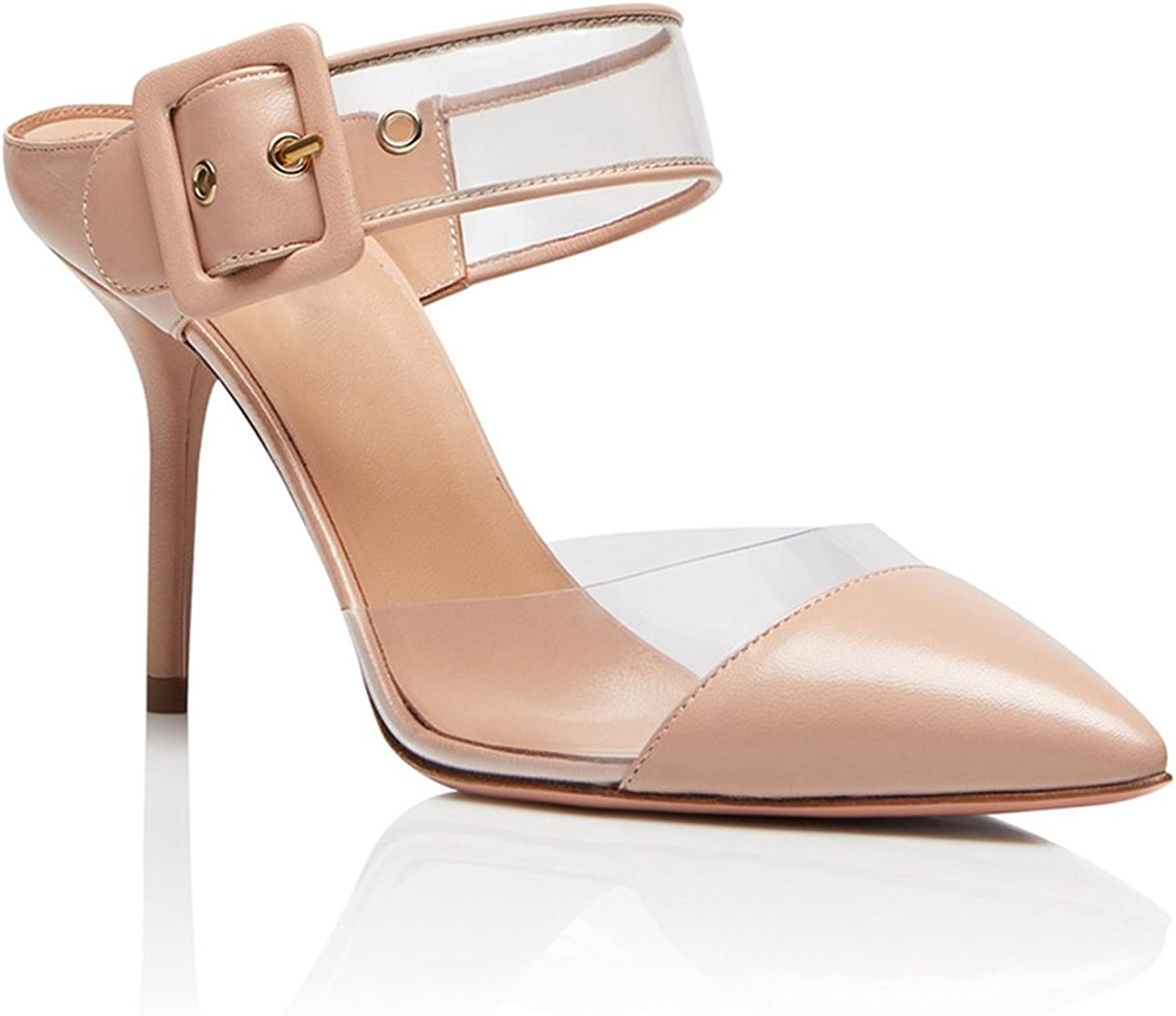 Women's PVC High Heel Pointed Fashion Sandals Transparent Sandals Back shoes Low shoes Cross Strap(Heel Height  11-13cm)