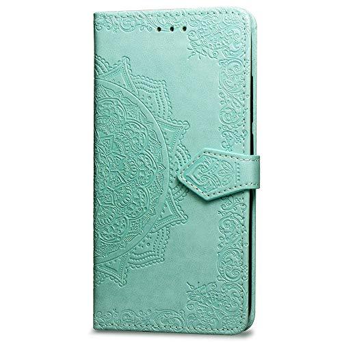 Fundas Xiaomi Mi A2 Lite Tapa de Falsa Piel Mandala Verde, Fundas Xiaomi Redmi 6 Pro Libro Iman con Tarjetero, Grabado Flores de Funda para Xiaomi Mi A2 Lite & Redmi 6 Pro Antigolpes Mujer
