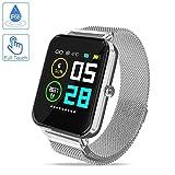 Zagzog 1.54IN Montre connectée Smartwatch Contrôle Tactile Complet GPS Suivi de la Condition Physique Watch Moniteur de Santé avec Suivi du Sommeil Réveil IP68 Étanche iOS Android pour Hommes Femmes