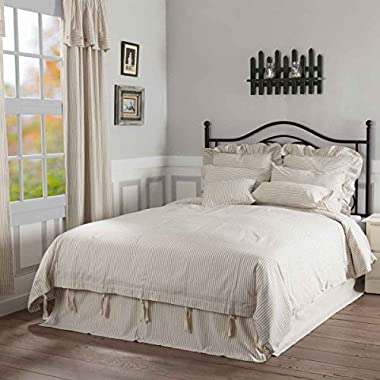 Piper Classics Farmhouse Ticking Stripe Duvet Cover Bedding, Beige Taupe & Off-White, Queen 92x92, Comforter Cover w/Twill Ties, Soft Comfortable Farmhouse Bedroom Decor