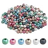 Mikihat Abalorios de Colores, 300 Piezas Cuentas De Madera Redonda, 6mm Bolas de Madera Natural para las Decoraciones de Pulseras Collares Joyería Fabricación de Bricolaje
