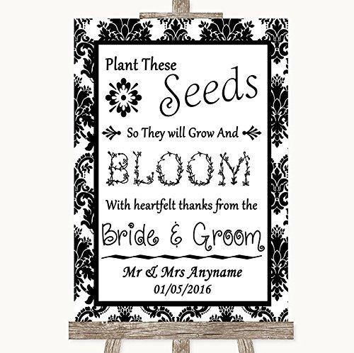 Wedding Sign Poster Print Zwart & Wit Damask Plant Zaden Favorieten kunnen volledig worden aangepast elke tekst of kleur - Perfect Venue Decoratie (A4) Medium