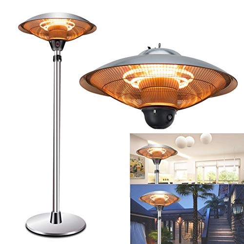 WANGXIAO Outdoor Patio Heater, Stainless Steel Portable Outdoor Heat Lamp, 3 Levels Adjustable Outdoor Heaters, Suitable for Indoors and Outdoors