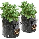 Sacchetti per la coltivazione di patate, 50 l, 34 x 35 cm, sacchetti per fioriera con finestra e manico a patta per coltivare verdure: patate, carote, pomodoro, cipolla (confezione da 2)