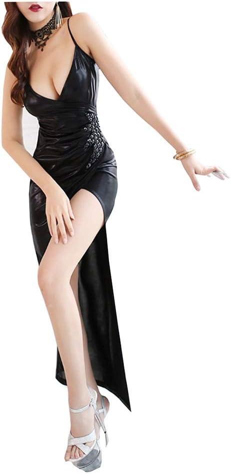 Dress Sexy Female Temperament Dress Hip Skirt Split Sling Club Party Summer (Color : Black, Size : XXL)