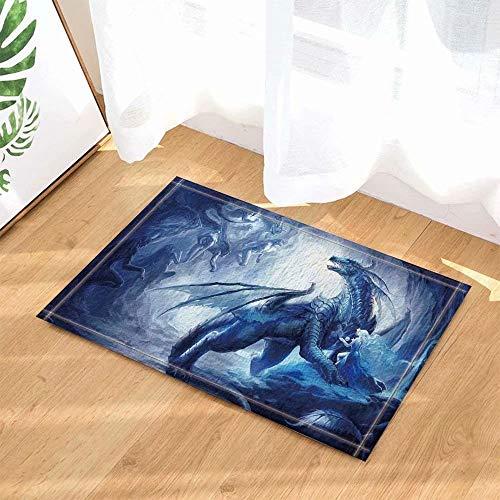 Décoration fantaisie dragon de dessin animé Tapis de salle de bain tapis de porte anti-glisse entrée de sol tapis de porte d